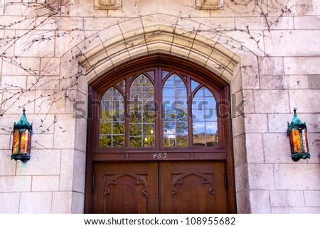 Yale University Doorway, Old Wooden Door, Lamps New Haven Connecticut - stock photo