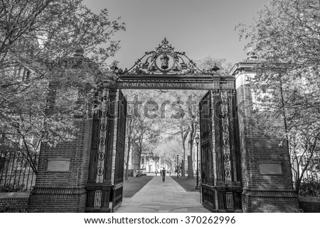 Yale university gate in spring blue sky in New Haven, CT USA - stock photo