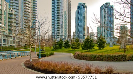 Yaletown sea walk in Vancouver Downtown, Canada. Sunrise light. - stock photo