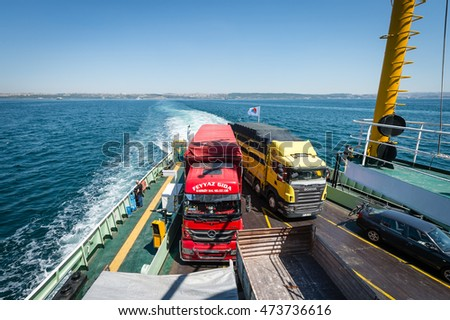 Yalova, Turkey - July 23, 2016: Locals turkish travelers are crossing the sea of Marmara on ferryboat in Turkey