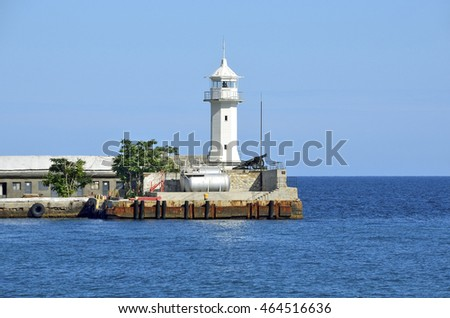 Yalta, Crimea, July, 20, 2016. The lighthouse on the seafront of Yalta