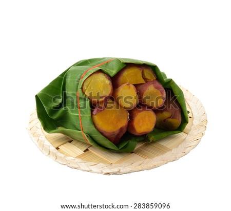 Yam, satsumaimo,or sweet potato isolated on white. - stock photo
