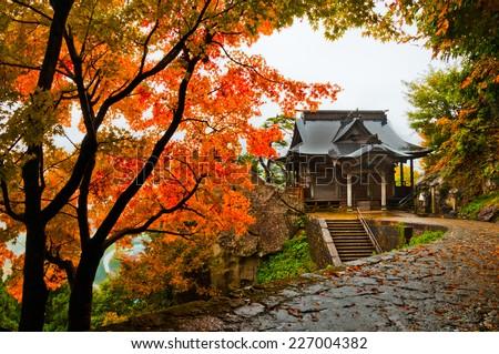 Yamadera Temple during Autumn in Yamagata, Japan - stock photo