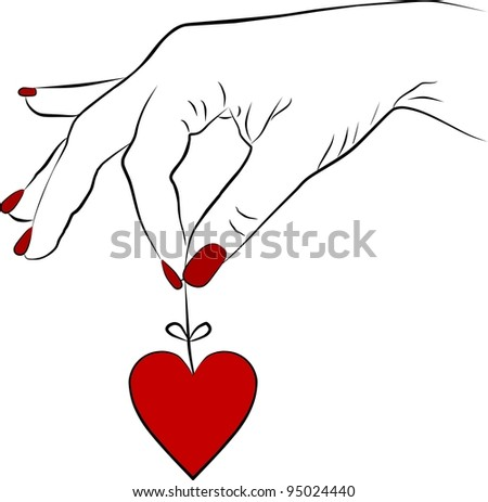 yang woman hand removing a heart - stock photo