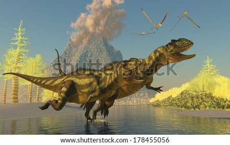 Yangchuanosaurus Dinosaurs - Two Yangchuanosaurus dinosaurs splash across a stream as a volcano erupts with smoke and ash. - stock photo