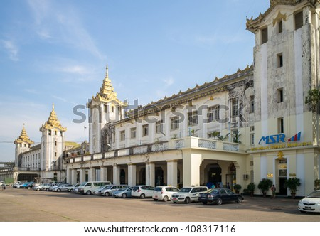 Yangon, Myanmar - February 8: Yangon Central Railway Station in Yangon, Myanmar. It is the largest railway station in Myanmar.