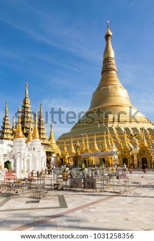 Yangon, Myanmar - 2017, January 7 : The Shwedagon paya in Yangon which is the most important buddhist religious site in Burma