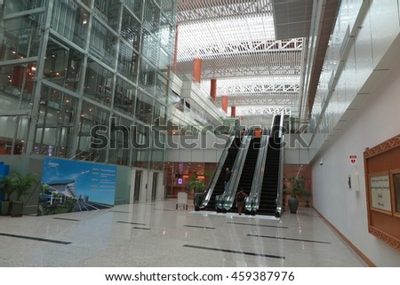 YANGON, MYANMAR - JULY 25, 2016 : Yangon International Airport Interior in Yangon. It is the primary and busiest international airport of Myanmar.