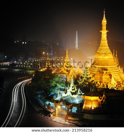 Yangon Myanmar, night cityscape panorama with Sule pagoda - stock photo