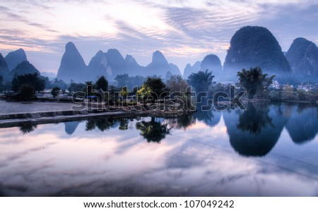 Yangshuo landscape - stock photo
