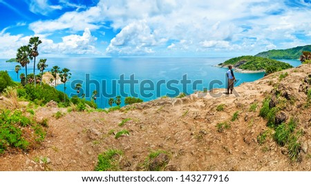 Yanui Beach is a quiet little cove located between Nai Harn Beach and Promthep Cape. - stock photo