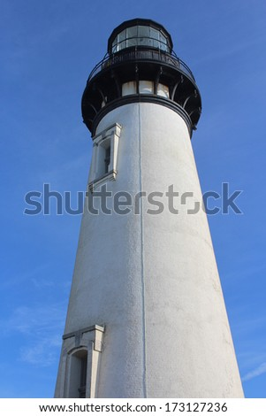 Yaquina Head Lighthouse on Oregon USA Coast - stock photo
