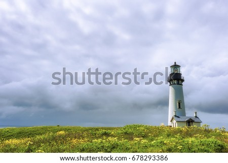 Yaquina Head Lighthouse stands tall under big cloudy skies and a foreground of spring flowers of wild mustard and queen an lace