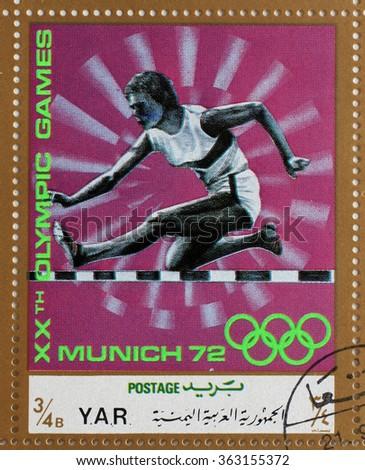YAR - CIRCA 1972: A stamp printed in Yemen Arab Republic shows steeplechase, Olympics in Munich, circa 1972 - stock photo
