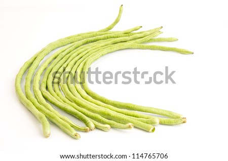 yard long bean on a white background (Vigna unguiculata subsp. sesquipedalis) - stock photo