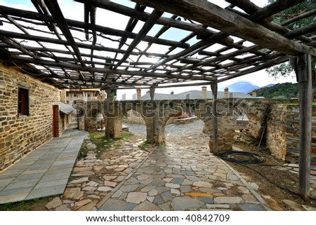 yard of a Greek Monastery on Mount Athos, Chalkidiki, Greece - stock photo