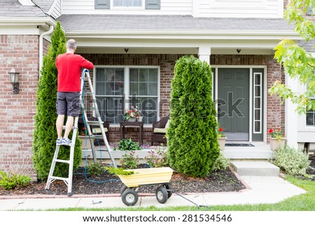 Yard work around the house trimming Thuja trees or Arborvitae with a middle-aged man standing on a stepladder using a hedge trimmer to retain the tapering ornamental shape - stock photo