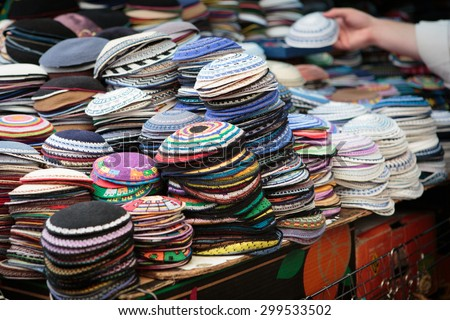 Yarmulkes in Jerusalem market - stock photo