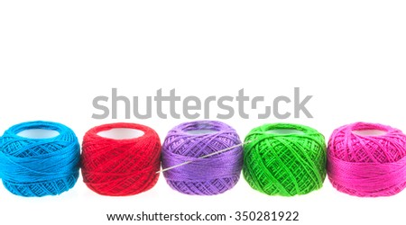 Yarn balls over white for background use