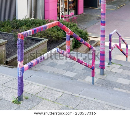 yarn bombing - stock photo