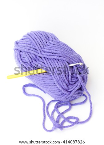 yarn for crochet on a white background - stock photo