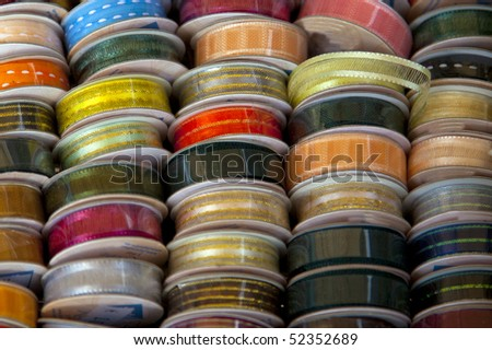 yarn in a row on the market - stock photo