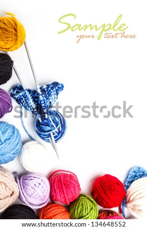 Yarn skeinswith space for your text - stock photo