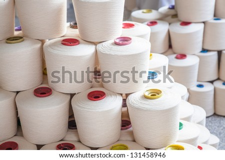yarn threads in the factory - stock photo
