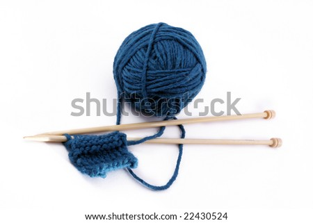 yarn with stitch - stock photo