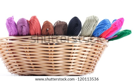 yarns of different colors for embroidery in the basket. Studio isolated.