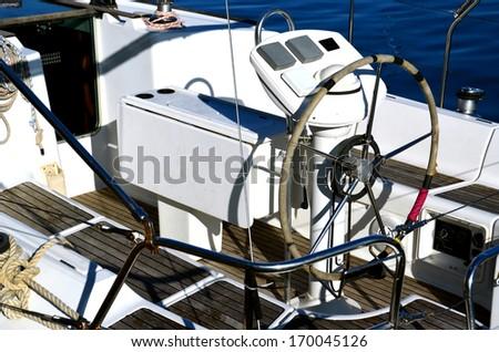 yatch - boat wheel - stock photo