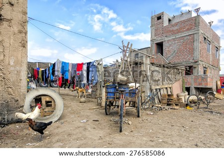 Yauca, Peru - August 18, 2010: View of small settlement in Yauca District. Yauca is one of thirteen districts of the province of Caraveli­ in Peru. This district is located along Pan-america highway. - stock photo