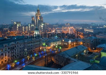 Yauza Boulevard, building on Kotelnicheskaya Embankment at night in Moscow - stock photo