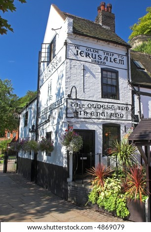 Ye Olde Trip To Jerusalem Inn (Nottingham, England) - stock photo