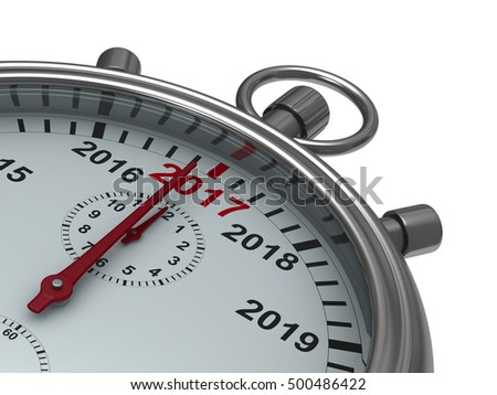 year calendar on stopwatch. Isolated 3D image