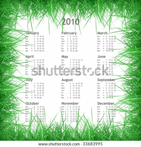 Year 2010 calendar with grass frame