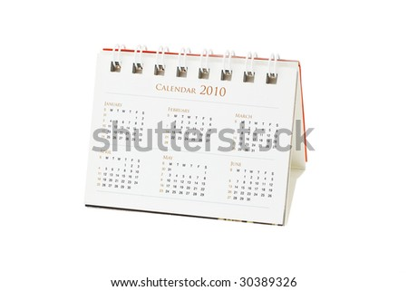 Year 2010 desktop calendar months January to June