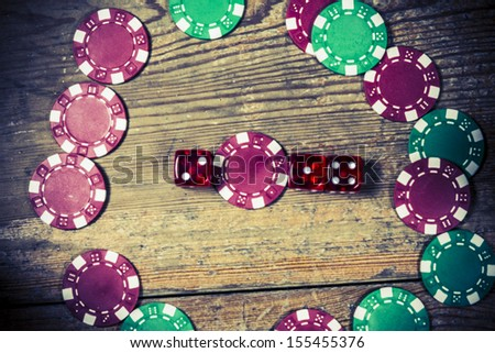 Year 2014 from dice and token - stock photo