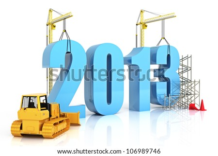 Year 2013 growth, building, improvement in business or in general concept in the year 2013, on a white background . - stock photo
