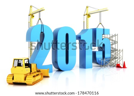 Year 2015 growth, building, improvement in business or in general concept in the year 2015, on a white background .  - stock photo