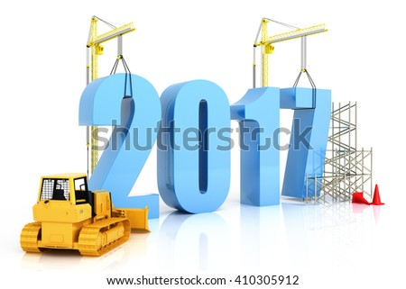 Year 2017 growth, building, improvement in business or in general concept in the year 2017, on a white background . 3d rendering - stock photo