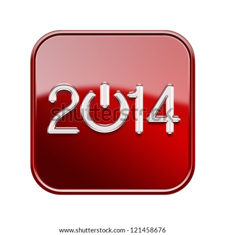 Year 2014 icon glossy red, isolated on white background - stock photo