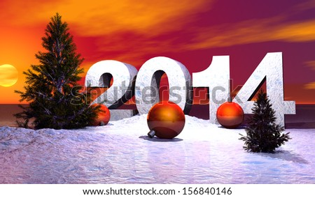 year illustration 2014, with navidad balls and snow     - stock photo
