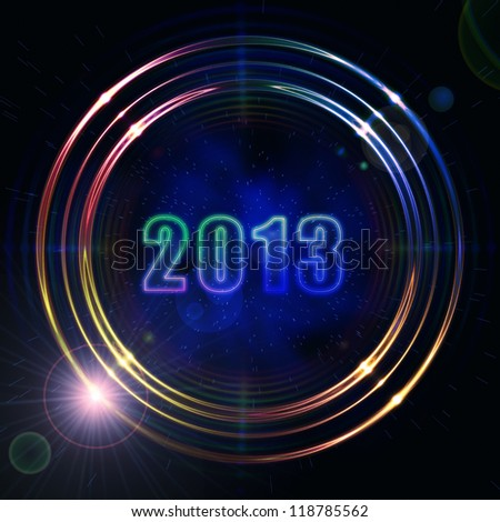 year 2013 in abstract golden rings shining over dark background with stars and lights - stock photo
