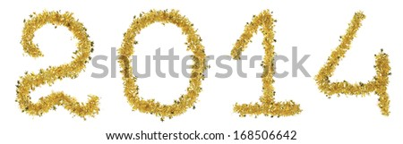 Year 2014 made from tinsel. Isolated on a white background.