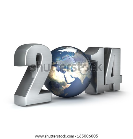 "Year 2014 made up of numbers and Earth as zero. isolated on white background High resolution 3d render  ""Elements of this image furnished by NASA"""