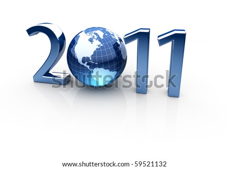 Year 2011 made up of numbers and globe as zero - stock photo