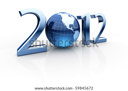 Year 2012 made up of numbers and globe as zero - stock photo