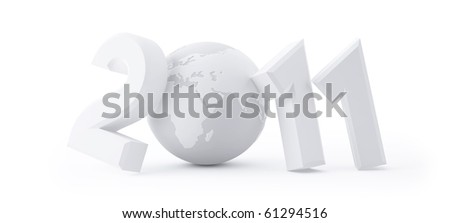 Year 2011 made up of numbers and globe as zero, clipping paths - stock photo