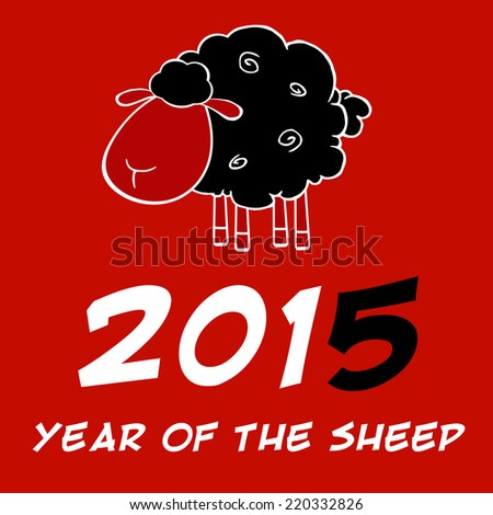 Year Of The Sheep 2015 Design Card With Black Sheep And Black Number. Raster Illustration